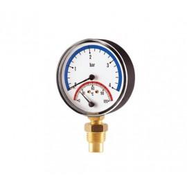 Термоманометр вертикальный 80мм 1/2-16 бар (0-120 C)