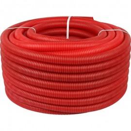 Труба гофрированная ПНД, цвет красный, наружным диаметром 32 мм для труб диаметром 25 мм